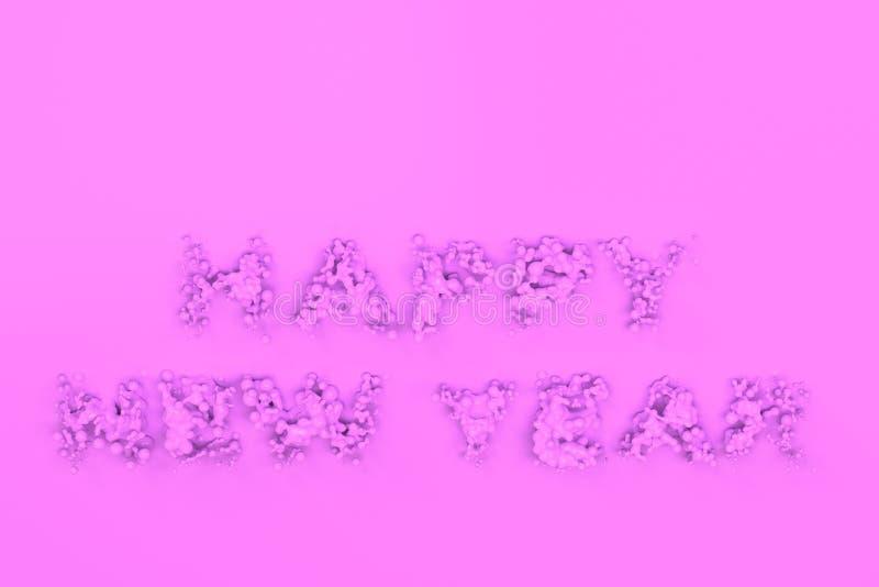 Palavras violetas líquidas do ano novo feliz com gotas no fundo violeta ilustração royalty free