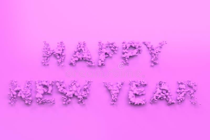 Palavras violetas líquidas do ano novo feliz com gotas no fundo violeta ilustração stock