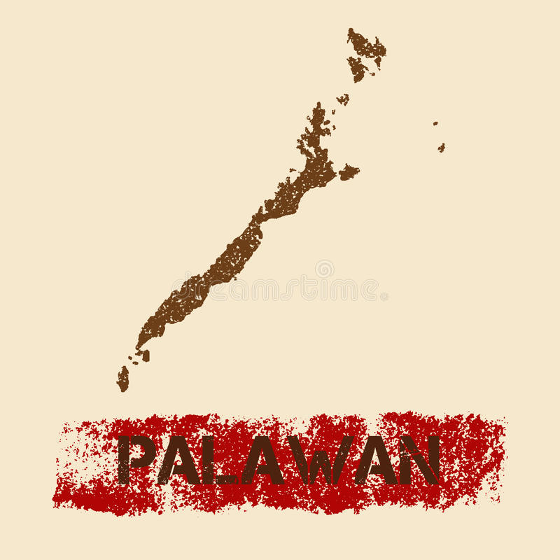 Palawan a affligé la carte illustration stock
