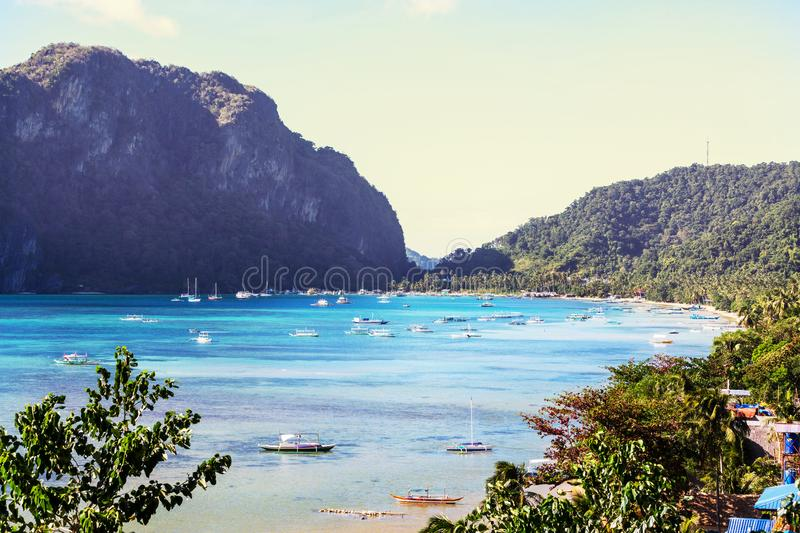 Palawan. Amazing scenic view of sea bay and mountain islands, Palawan, Philippines royalty free stock photography