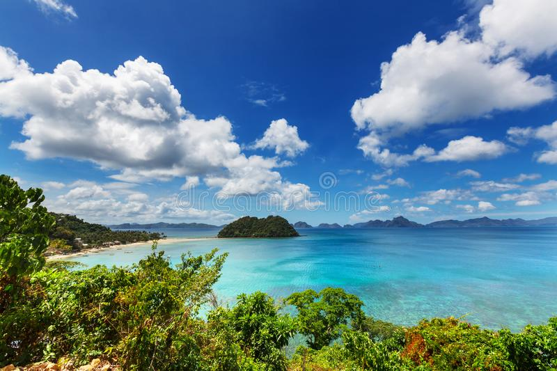 Palawan. Amazing scenic view of sea bay and mountain islands, Palawan, Philippines royalty free stock image