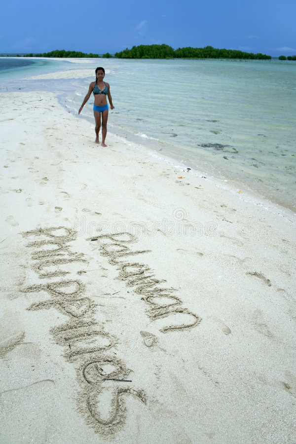 Palawan beach philippines writing in the sand royalty free stock images