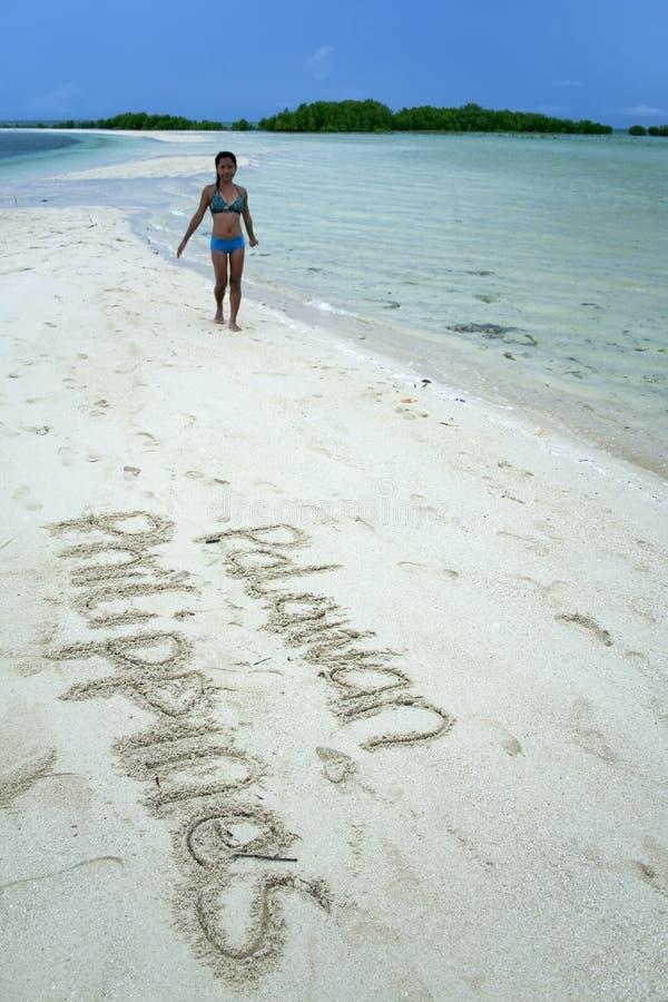 palawan philippines sand writing royaltyfria bilder