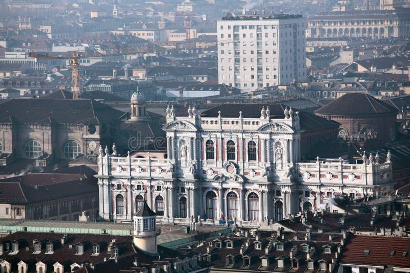 Palazzo卡里尼亚诺在都灵,意大利 库存照片