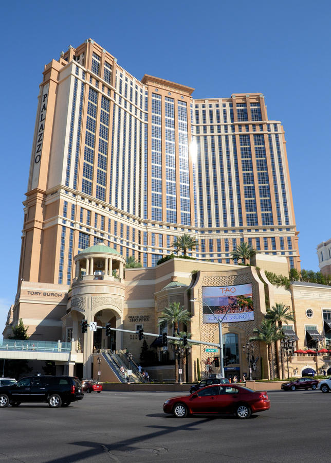 Palazzo旅馆拉斯维加斯 免版税图库摄影