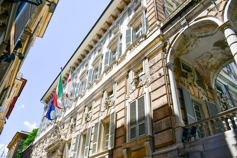 Palazzo Bianco,Genoa , Italy. Palazzo Bianco, is one of the main buildings of the center of Genoa, Italy.In 1899, Maria Brignole Sale, the Duchess of Galliera royalty free stock image