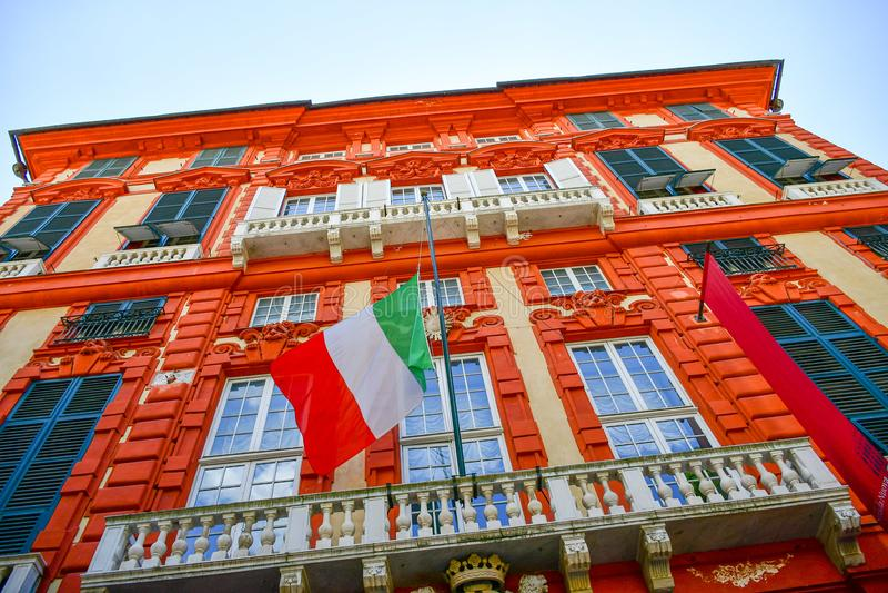 Palazzo Rosso ,Genoa , Italy. The Palazzo Brignole Sale or Palazzo Rosso is a house museum located in Via Garibaldi, in the historical center of Genoa.Built in stock photo