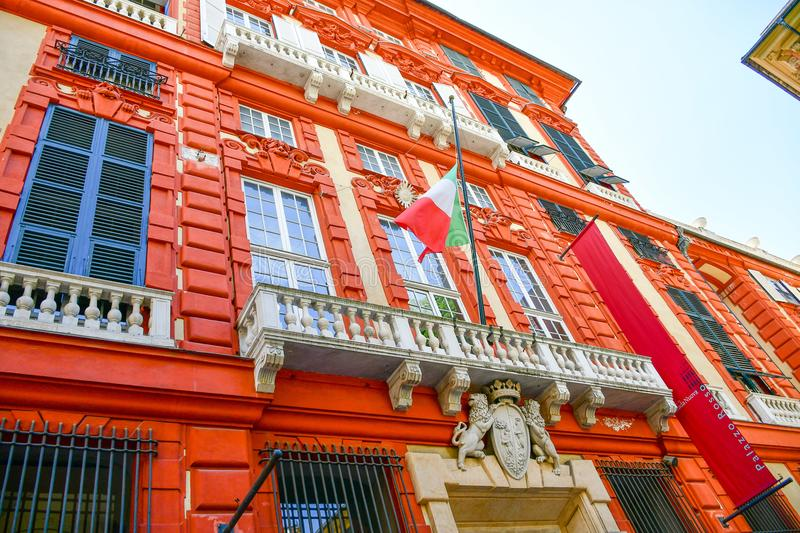 Palazzo Rosso ,Genoa , Italy. The Palazzo Brignole Sale or Palazzo Rosso is a house museum located in Via Garibaldi, in the historical center of Genoa.Built in stock photography