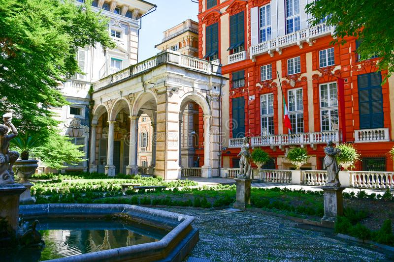 Palazzo Rosso ,Genoa , Italy. The Palazzo Brignole Sale or Palazzo Rosso is a house museum located in Via Garibaldi, in the historical center of Genoa.Built in royalty free stock image