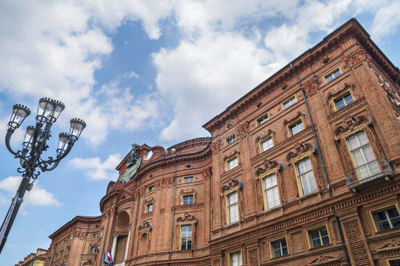 Palazzo Carignano, historisk byggnad i Turin, Piedmont, Italien arkivfoton