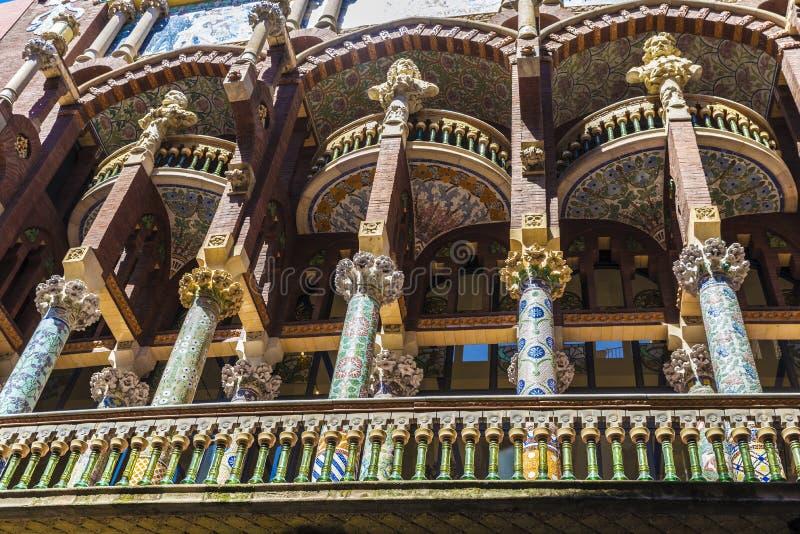 Palazzo catalano di musica (catalana) di Palau de la musica, Barcellona immagini stock