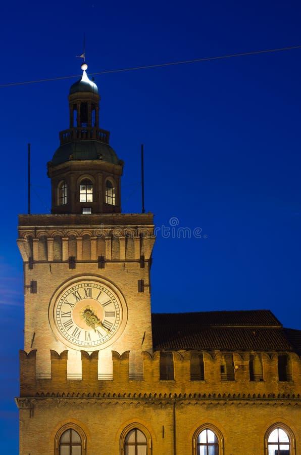 Palazzo Comunale, πλατεία Maggiore, Μπολόνια, Αιμιλία-Ρωμανία, Ital στοκ εικόνες με δικαίωμα ελεύθερης χρήσης