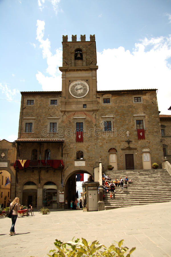 Palazzo Comunale em Cortona (Itália) fotografia de stock royalty free