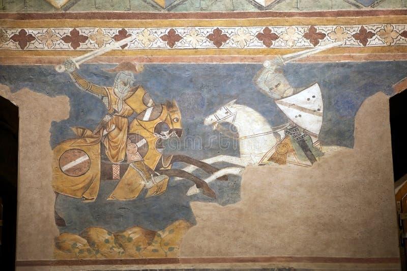 Palazzo Comunale, San Gimignano, Tuscany, Italy. Fresco at the Palazzo Comunale, Town hall, San Gimignano, Tuscany, Italy. Councing room, also known as Sala stock photography