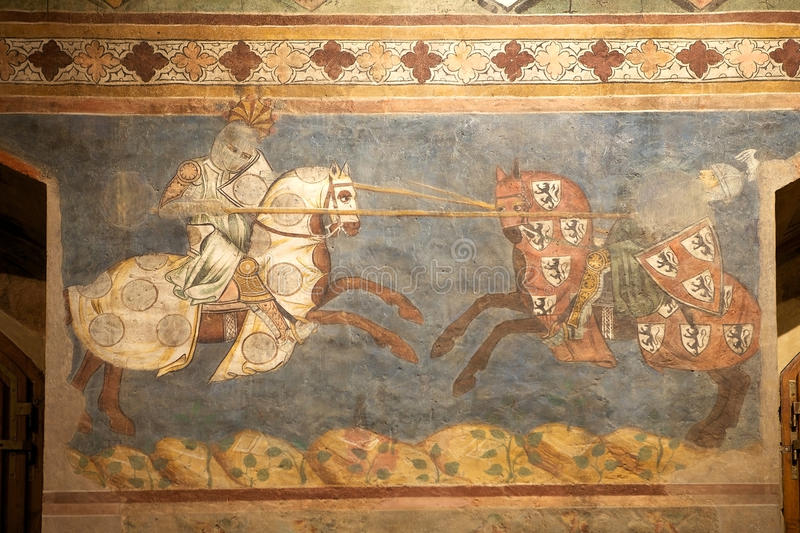 Palazzo Comunale, San Gimignano, Tuscany, Italy. Fresco at the Palazzo Comunale, Town hall, San Gimignano, Tuscany, Italy. Councing room, also known as Sala stock images