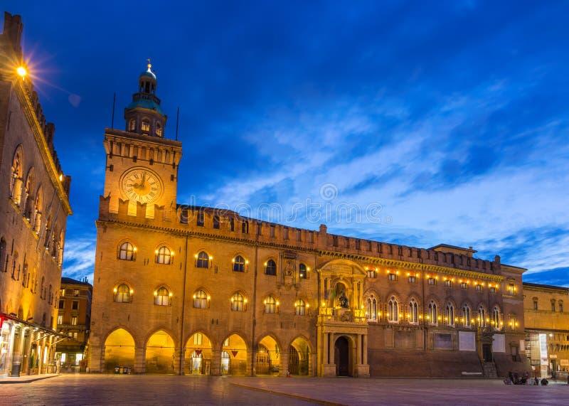 Palazzo d'Accursio i bolognaen, Italien royaltyfria foton