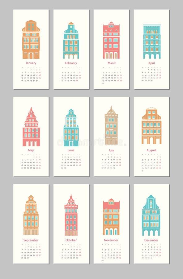 Palazzo d'Europa 2015 di progettazione del calendario royalty illustrazione gratis