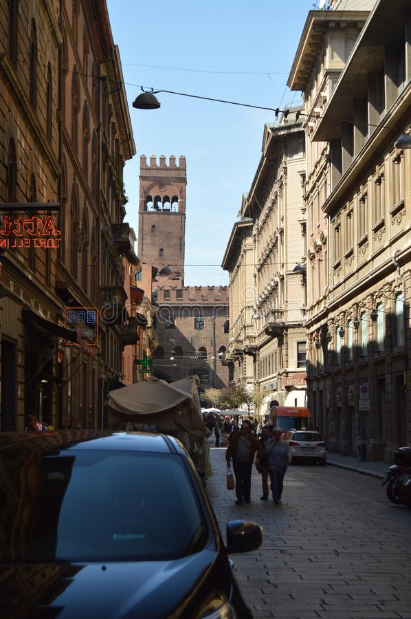 Palazzo De Enzo Seen From Caprarie Street In Bologna. Travel, holidays, architecture. March 31, 2015. Bologna, Emilia Romagna, royalty free stock photography