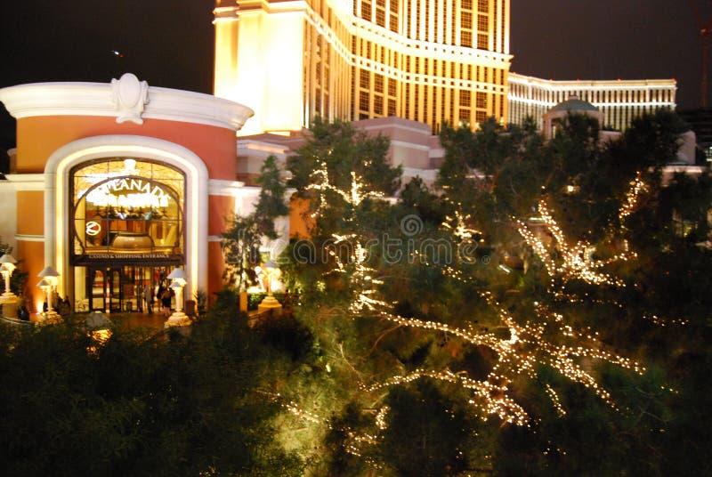 Palazzo, de Internationale Luchthaven van McCarran, nacht, verlichting, Kerstmisdecoratie, huis royalty-vrije stock afbeelding