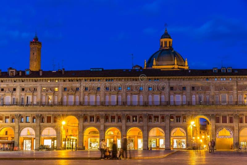 Palazzo dei Banchi i bolognaen, Italien arkivbild
