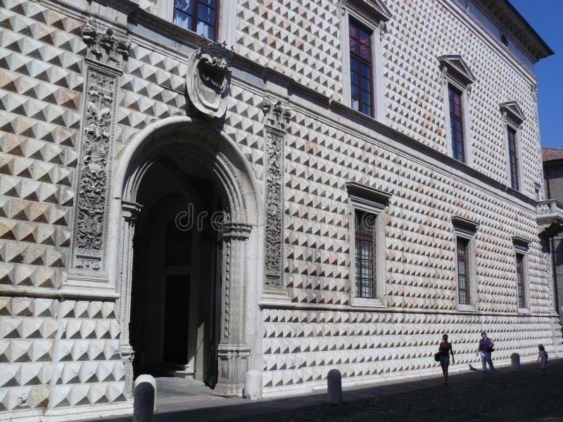 Palazzo dei Diamanti - diamond facade on the building in Ferrara. Palazzo dei Diamanti is a Renaissance palace located on Corso Ercole I d`Este 21 in Ferrara stock photos
