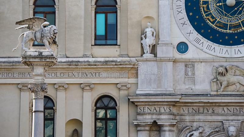 Palazzo del Capitanio, dans les Signori de dei de Piazza, et tour d'horloge, avec la montre astronomique célèbre Padoue, Padoue e photographie stock