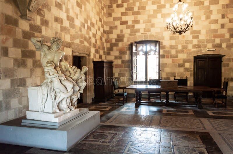 Palazzo del Gran Maestro a Rhodes, Grecia Dodecanese, destinazione fotografia stock libera da diritti