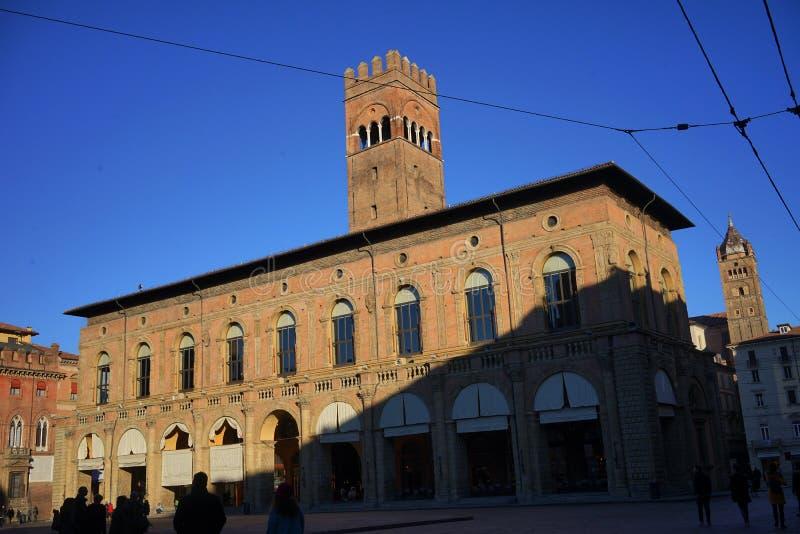 Palazzo del PodestA?,波隆纳 免版税图库摄影