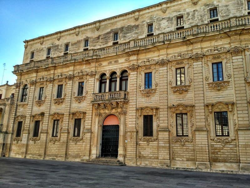 Palazzo del Seminario in Piazza del Duomo - Lecce, Italia immagini stock libere da diritti