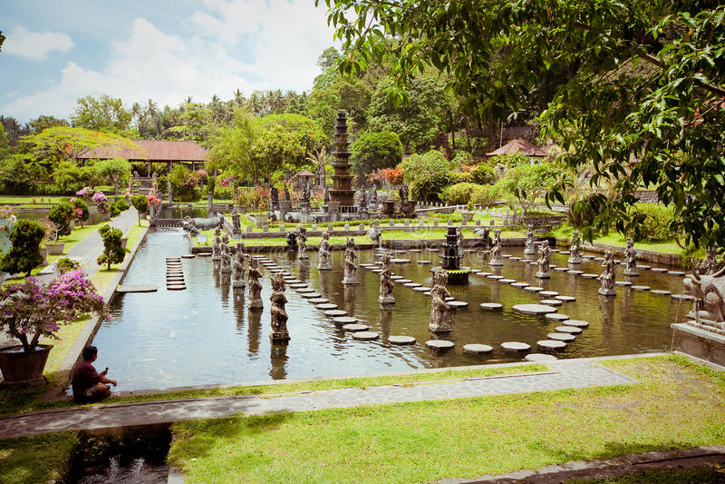 Palazzo dell'acqua di Tirtagangga sull'isola di Bali fotografia stock libera da diritti