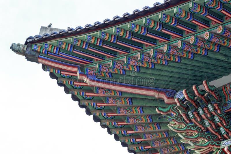 Palazzo della Corea, tetto di legno coreano, palazzo di Gyeongbokgung a Seoul, Corea del Sud fotografie stock libere da diritti