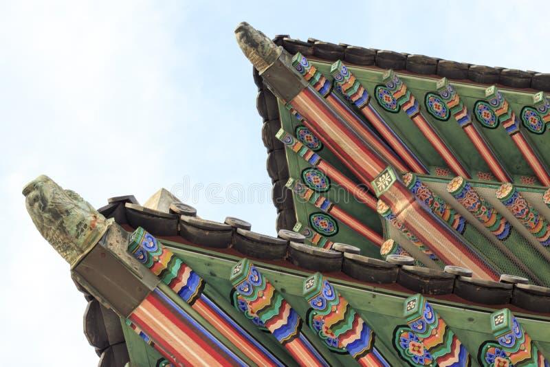 Palazzo della Corea, tetto di legno coreano, palazzo di Gyeongbokgung a Seoul, Corea del Sud fotografia stock libera da diritti