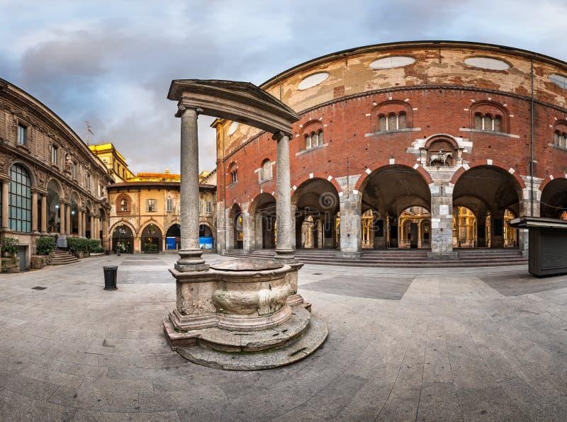Palazzo della Ragione and Piazza dei Mercanti in the Morning. Milan, Italy stock photo
