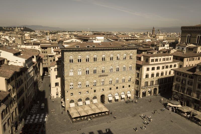 Palazzo-delle Assicurazioni Generali im Marktplatz della Signoria in Florenz, Toskana, Italien Gealterter Fotoeffekt stockbilder