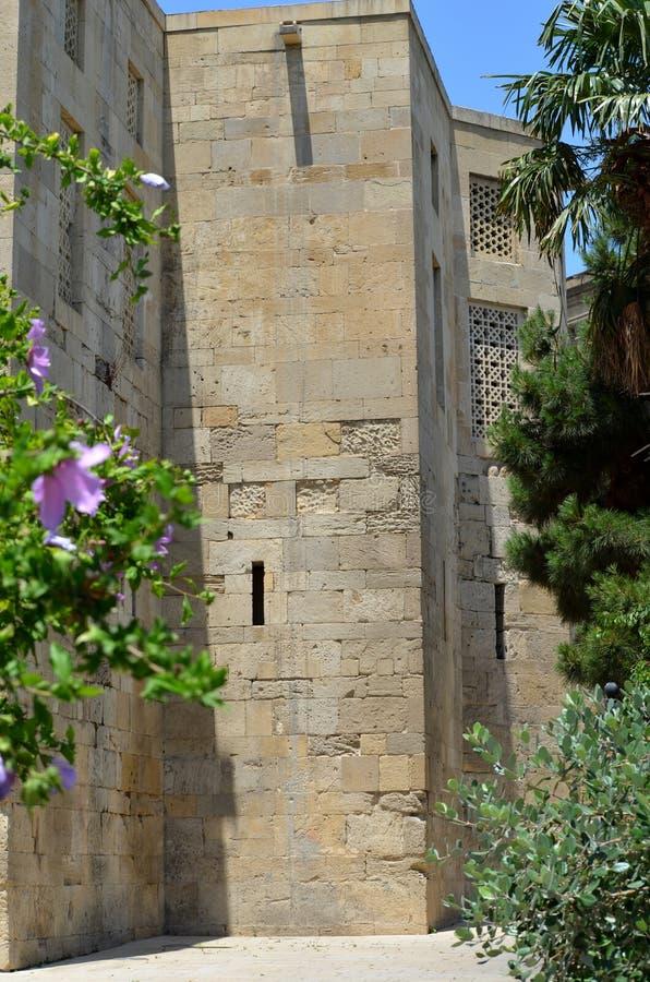Palazzo dello Shirvanshahs nella vecchia città di Bacu, capitale dell'Azerbaigian fotografia stock libera da diritti