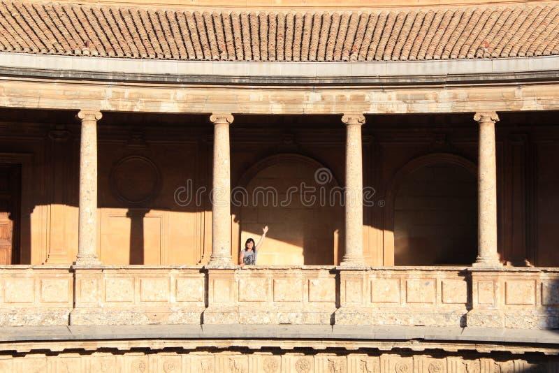 Palazzo di Carlo V, Arena antica nel palazzo di Alhambra in Spagna Giro, originale immagine stock libera da diritti