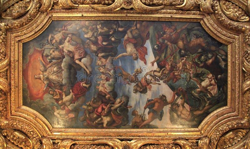 Palazzo di espedienti a Venezia, pittura del soffitto fotografia stock