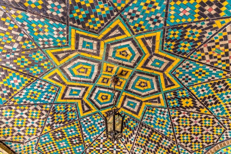 Palazzo di Golestan del mosaico del soffitto della stella fotografia stock