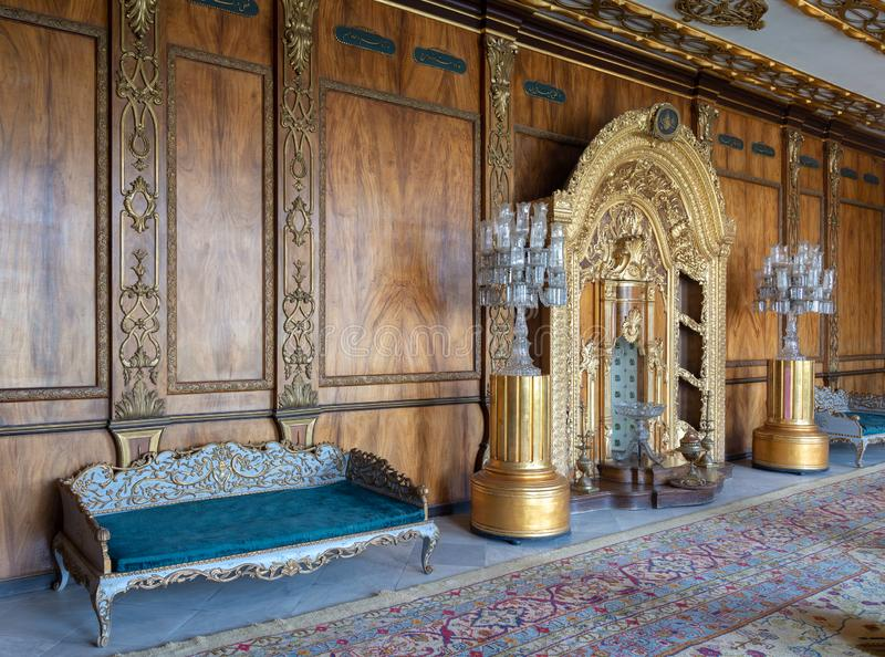 Palazzo di Manial di principe Mohammed Ali Tawfik La residenza della madre del ` s di principe con il posto adatto decorato dorat fotografia stock libera da diritti