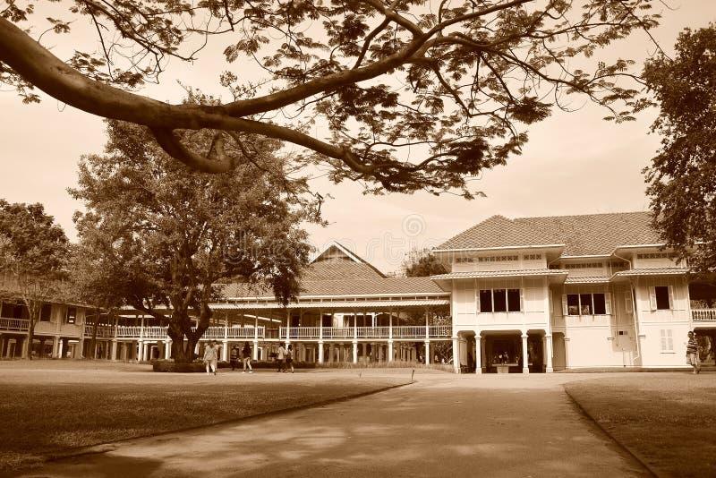 Palazzo di Mrigadayavan in ChaAm Tailandia nella seppia immagine stock libera da diritti