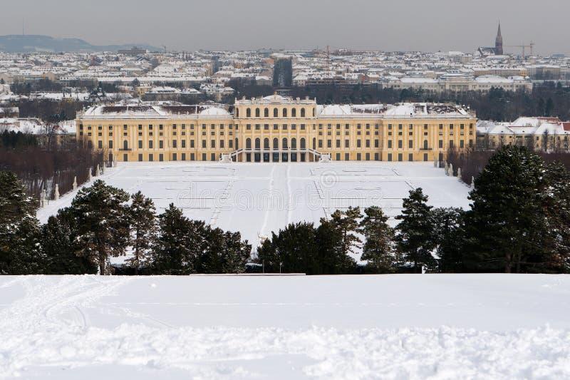 Palazzo di Schönbrunn con neve fotografia stock libera da diritti