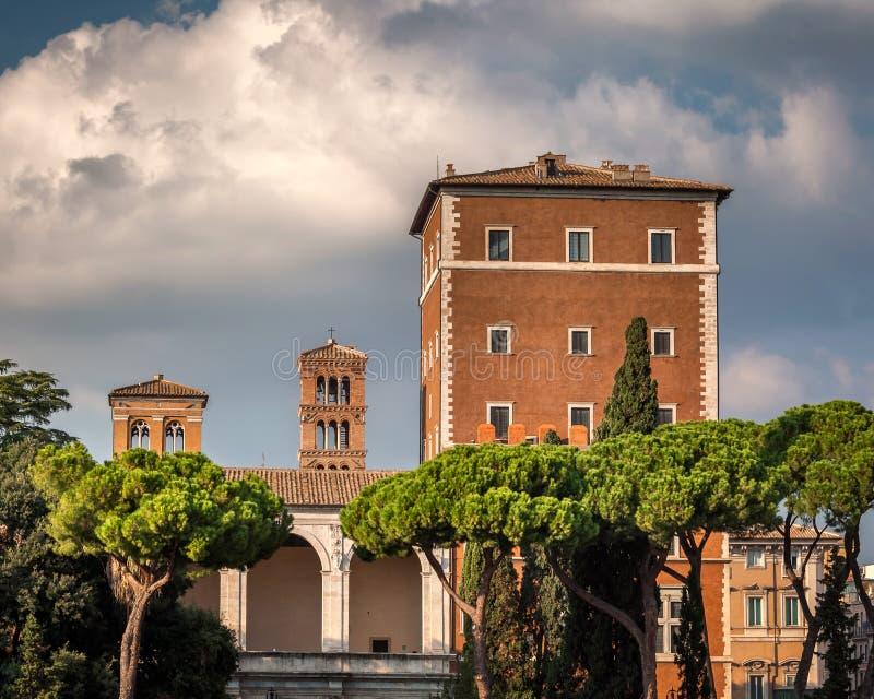 Palazzo di Venezia and Typical Rome Skyline, Rome, Italy stock image