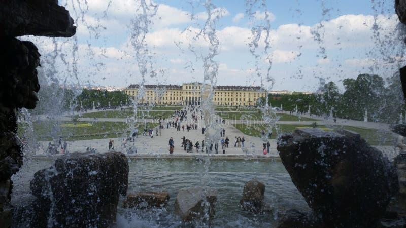 Palazzo di Vienna dietro acqua di caduta fotografie stock
