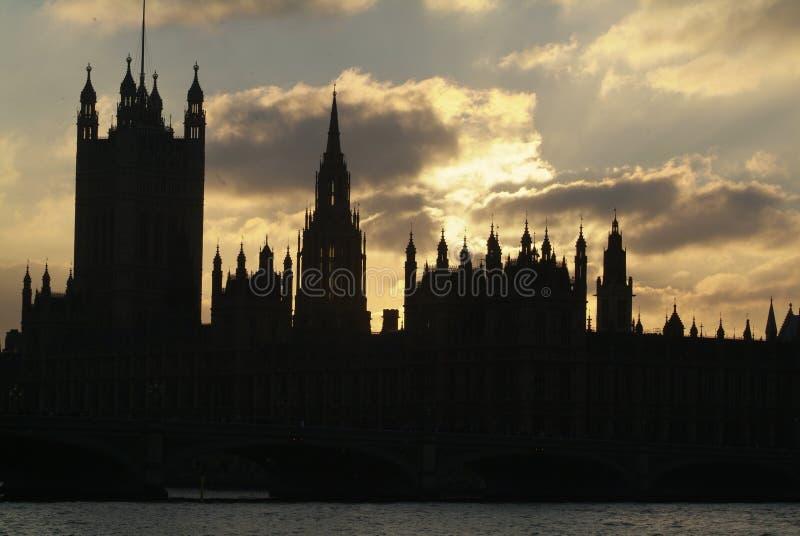 Palazzo di Westminster al crepuscolo, Londra, Regno Unito immagine stock