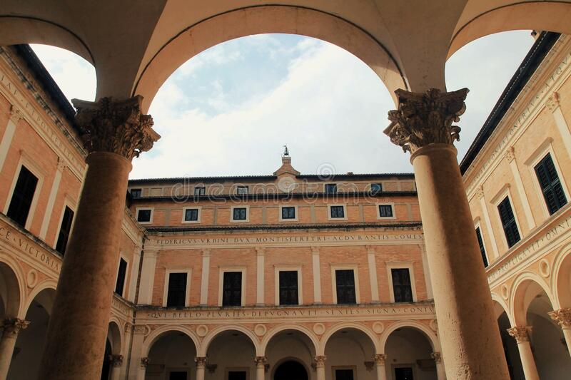 Palazzo Ducale, grand palace of the Urbino city, center of Italy royalty free stock photos