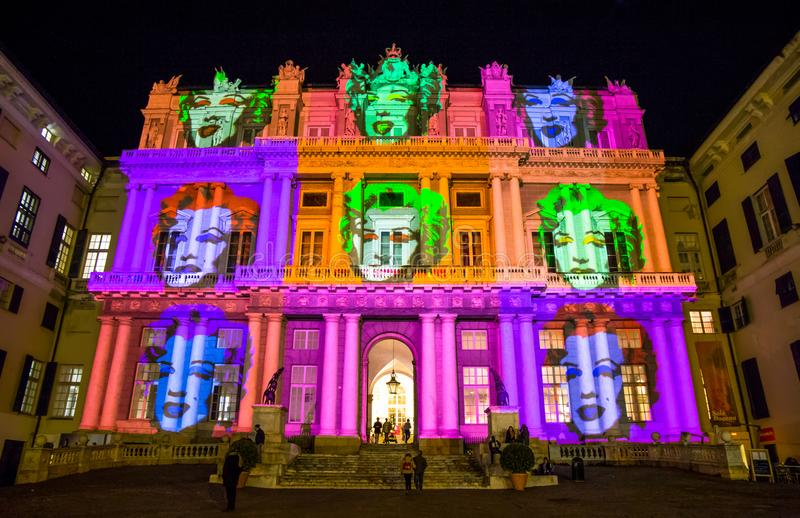 Palazzo Ducale, show dedicated to Andy Warhol event exposure in Genoa, Italy. The projection represents the face of Marilyn Monroe. Palazzo Ducale, show stock image