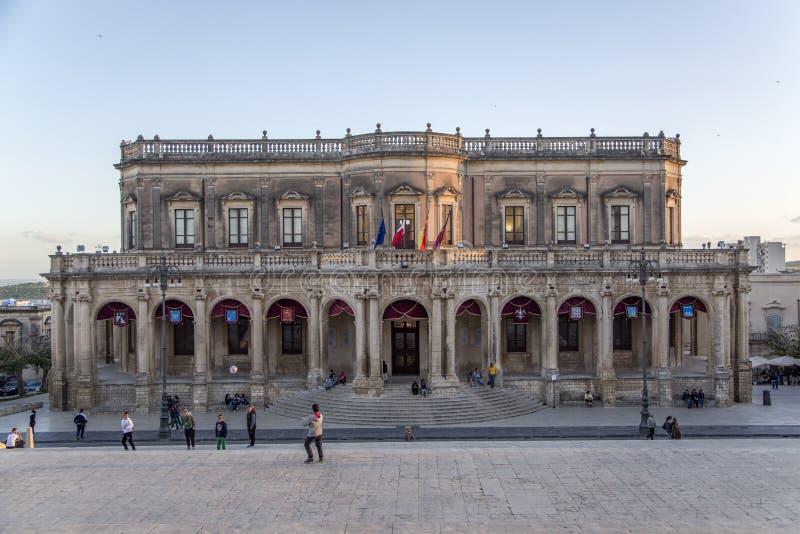 Palazzo Ducezio en Noto, Italia imagen de archivo libre de regalías
