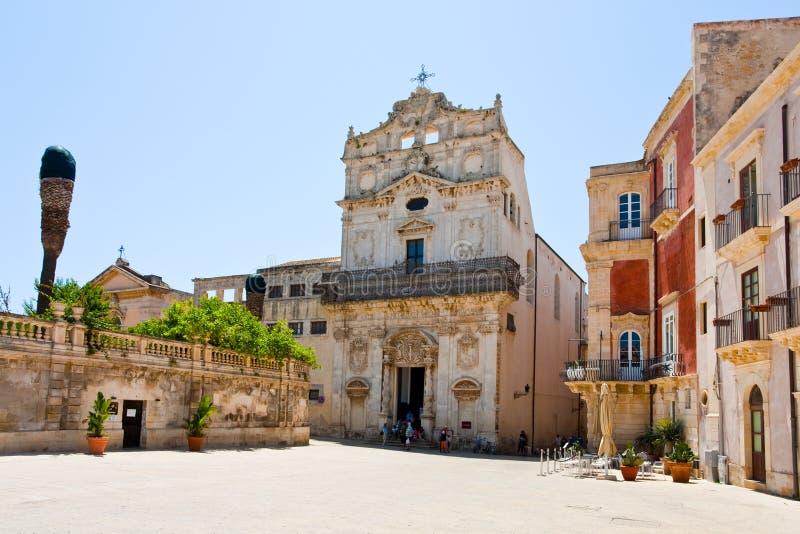 Palazzo episcopale medioevale a Siracusa fotografia stock libera da diritti