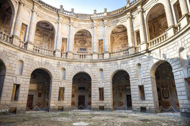 The Villa Farnese in italian Palazzo Farnese, a mansion in the town of Caprarola near Viterbo, Northern Lazio, Italy. Palazzo Farnese, one of the most beautiful royalty free stock photography