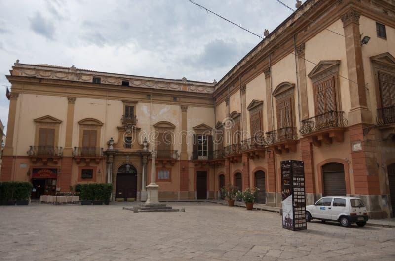 Palazzo Gangi sul quadrato di Croce del vespri Palermo, Italia immagine stock libera da diritti